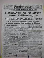 PARIS-SOIR  4 septembre 1939
