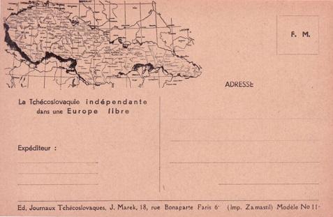 carte de l'armée tchécoslovaque en France