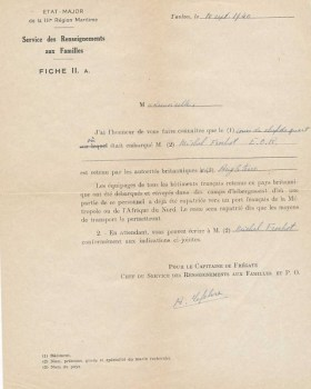 note pour les équipages de bâtiments français retenus en pays britannique