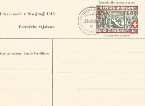 carte spéciale pour prisonniers de guerre polonais en suisse camp de luterkofen