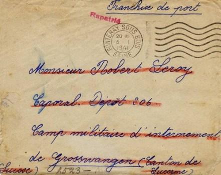 prisonniers de guerre en suisse mention rapatrié janvier 1941 camp de grosswangen canton de Lucerne