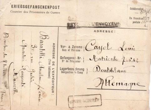 01 01 1941 nouvelles règlementations concernant le courrier des prisonniers de guerre