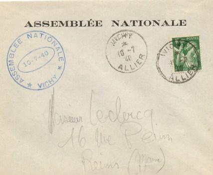 10 07 1940 assemblée nationale à Vichy