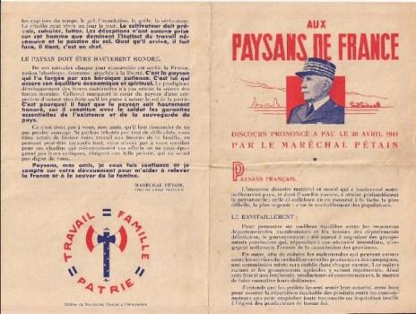 20 04 1941 message du Maréchal aux paysans de France