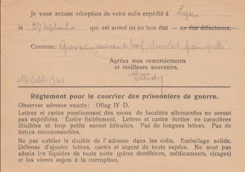 règlement courrier oflag IV D