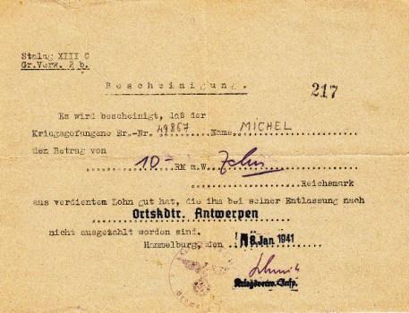 stalag XIII C certificat attestant que le PG a bien perçu un salaire