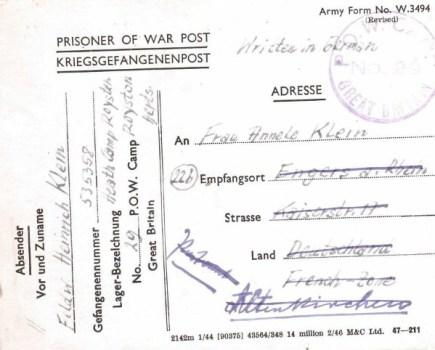 prisonniers de guerre allemands en GB camp n° 29