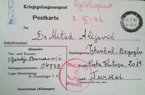 lettre du stalag V B mention serbe