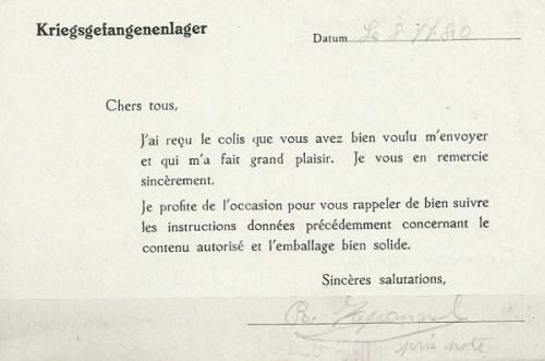 stalag VIII C carte de colis 08 11 1940