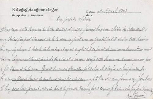 27 04 1943 stalag VIII A verso