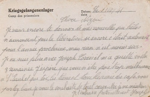 10 10 1941 stalag XIIIC verso