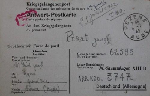 06 07 1942 stalag XIII B