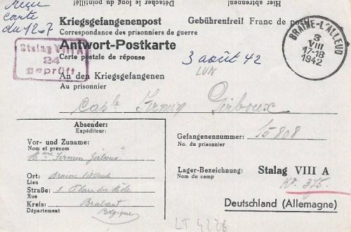 03 08 1942 stalag VIII A