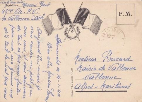 14 01 1940 légion étrangère à Valbonne