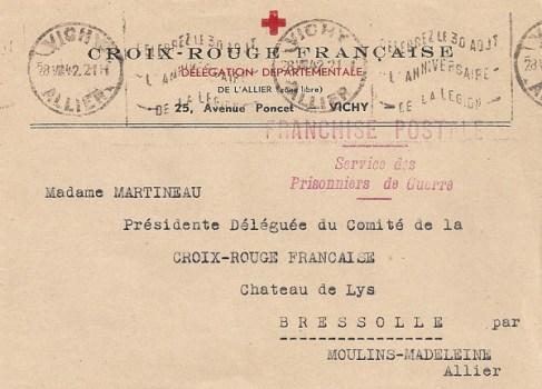 1942 FRANCHISE POSTALE pour le service des PG