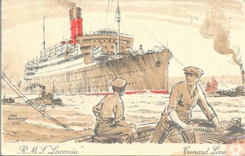 Carte postale du 6 août 1929 postée à bord pour Brooklyn, New York