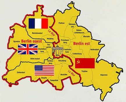 carte de Berlin partagée entre les alliés