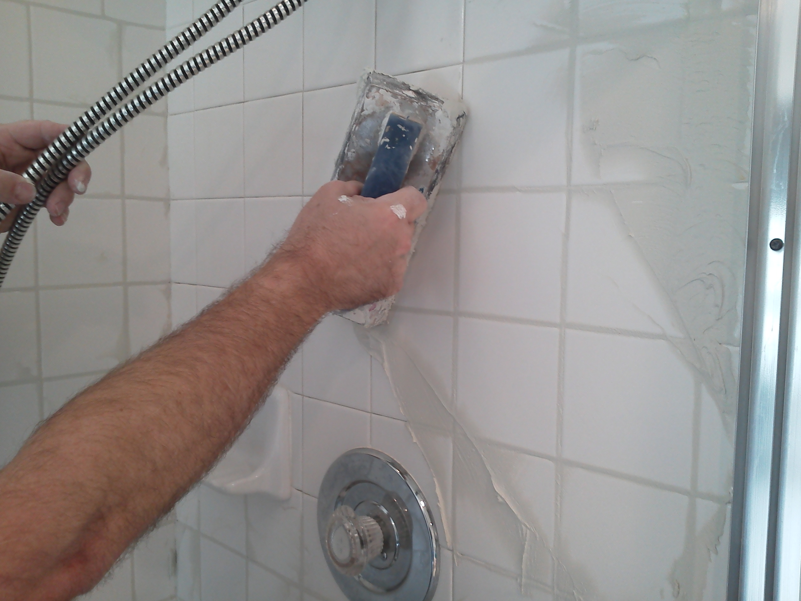 how to regrout a shower pristine tile