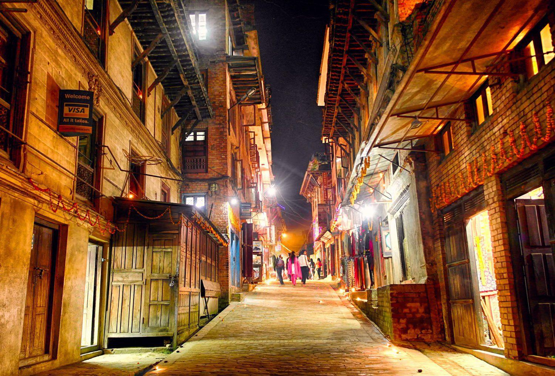 The Illuminated street of Bhaktapur