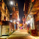 The Illuminated street of Bhaktapur