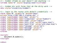 Code used for logging in to router
