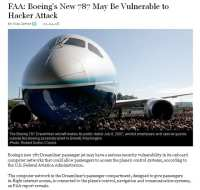 News report on Boeing 787 being vulnerable to hacker attack