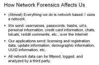 Potential impact of network forensics