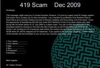 Example of the '419 Scam'
