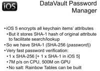 DataVault's peculiarities on iOS 5