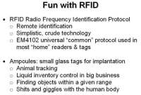 Things that can be done with RFID