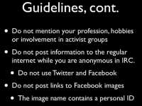 Further anti-profiling guidelines