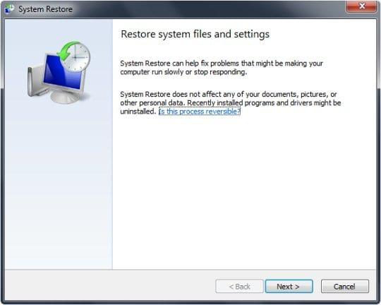 Initiate System Restore