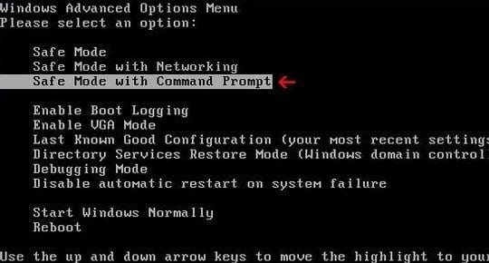 Safe Mode with Command Prompt under Windows Advanced Options Menu