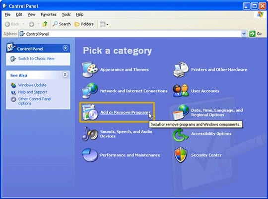 Select Add or Remove Programs on Windows XP