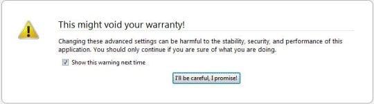 Firefox warning