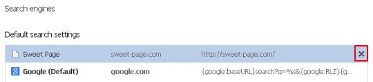 Remove Sweet Page from Chrome search engines list