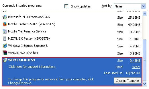 Uninstall program associated with Sweet Page adware