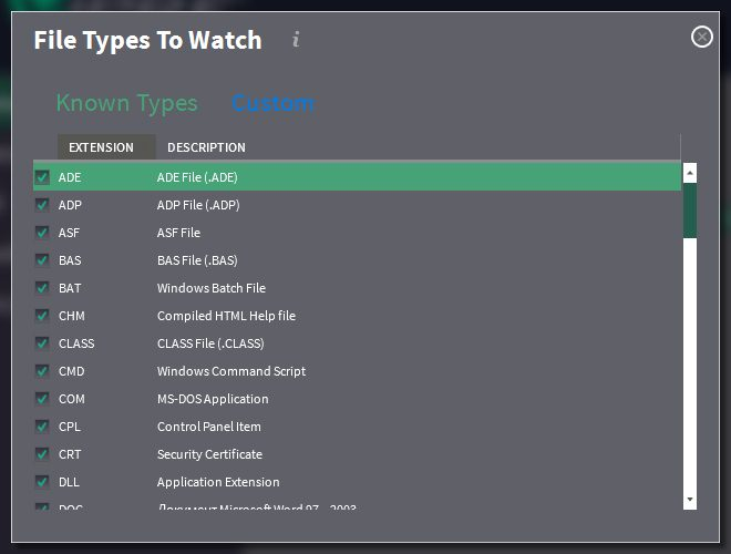 File types for Advanced Active Protection to watch