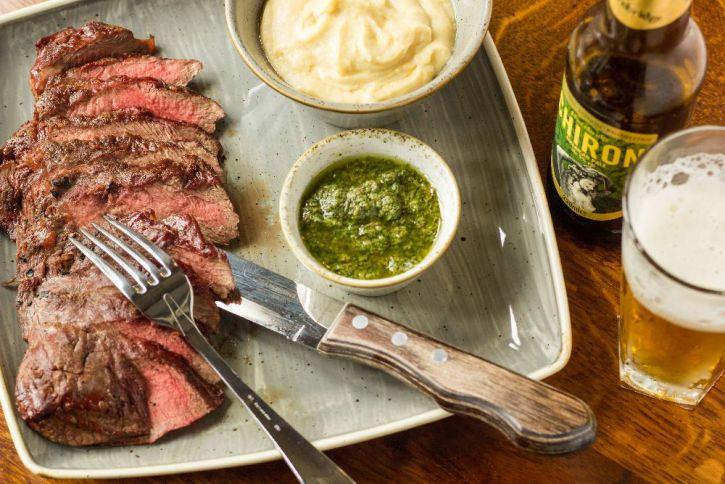 Flat Iron Steak, Salsa Verde, Smoked Mash