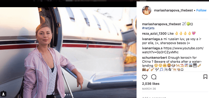 Maria Sharapova on a NetJets private jet