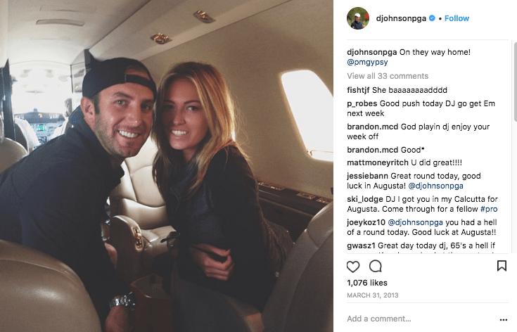 Dustin Johnson and Paulina Gretzky on a NetJets private jet