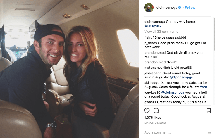 Dustin Johnson and Paulina Gretzky on a NetJets private jet