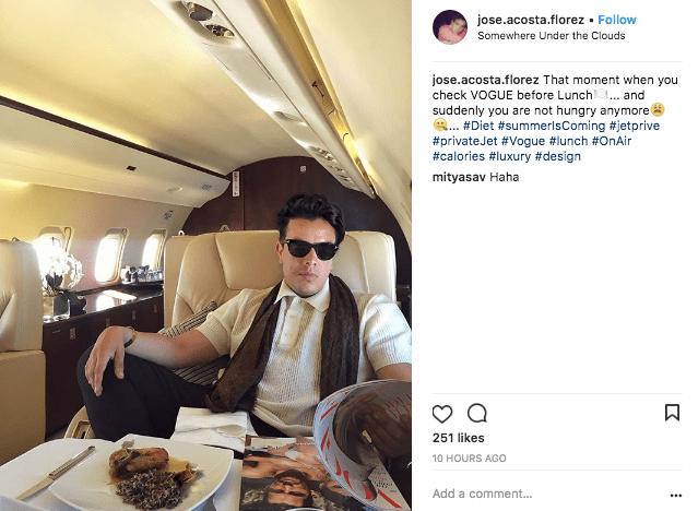 Jose Acosta Florez on a private jet