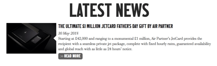Air Partner jet card cost is GPB 1 million