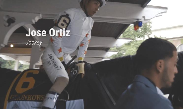 Jose Ortiz on Gronkowski before the 2018 Belmont Stakes