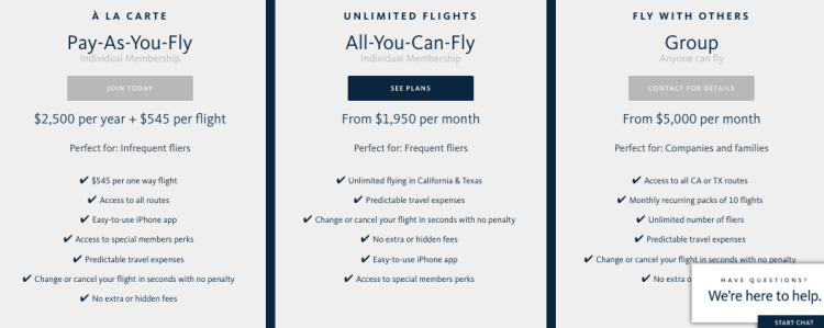 Surf Air offers membership models ranging from $1,950 to $5,000 per month for all-you-can fly