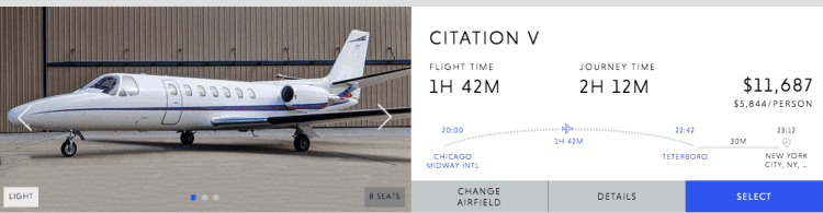 Private Jet Charter Price Chicago to New York
