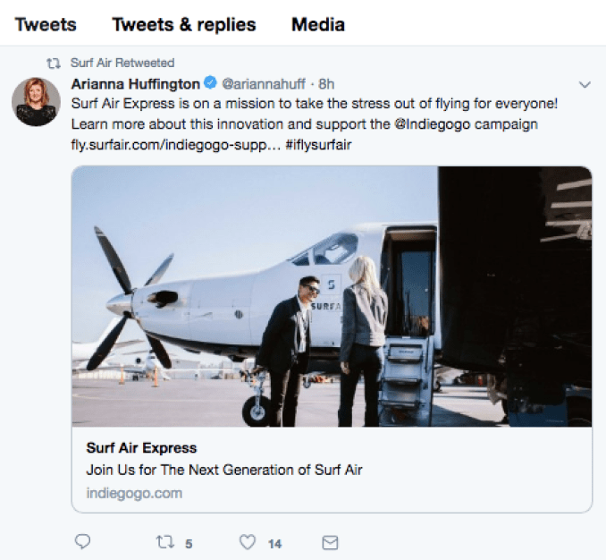 Arianna Huffington Tweest for Surf Air Express