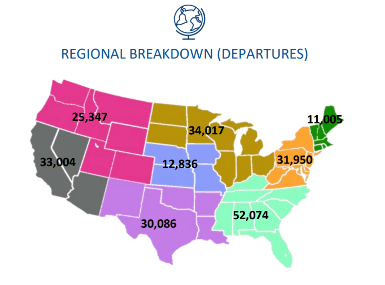 private jet flights by region