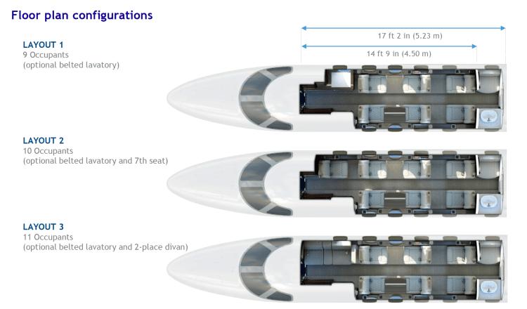 Phenom 300 cabin layout